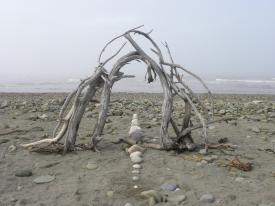 Gate of the Myst, driftwood, rocks, Miscou Island, N.B. - 2013