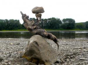 ROCKS IN EQUILIBRIUM- rocks, driftwood, St-Hilaire, N.B. - 2012