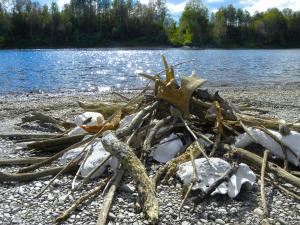 STICKS & BONES, ceramic, driftwood, 15 feet in diameter St-Basile, NB, Canada - 2013