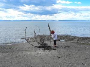 Creating some land art in Rivière-du-Loup, Qc, Canada - 2012