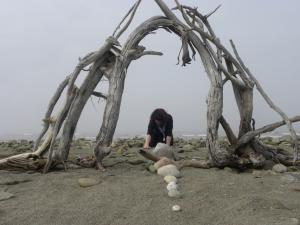Creating some land art in Miscou Island, NB, Canada - 2013