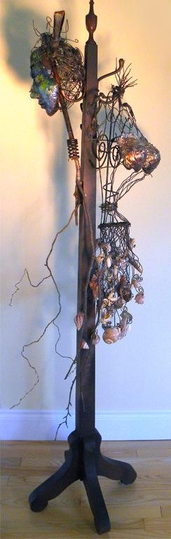 Porte-carapace, polymer, metal, wood, shells, copper, 180 x 76 x 50 cm - 2009