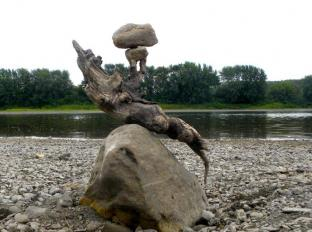 ROCKS IN EQUILIBRIUM- rocks, driftwood, St-Hilaire, N.B. - 2012