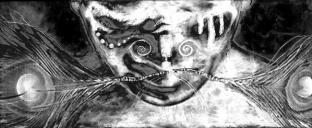 Peacock Man, techniques mixtes, 12 x 24 pouces - 2009