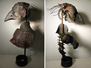 Femme oiseau, raki, métal, 68 x 38 x 22 cm - 2011