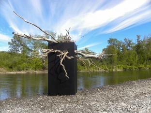 PARADOX, aluminium, driftwoods, downriver from a hydro dam, Rivière-Verte, NB - 2015