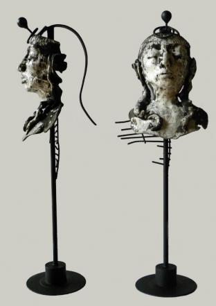 Introspection, raku, metal, 86 x 31 x 29 cm - 2016
