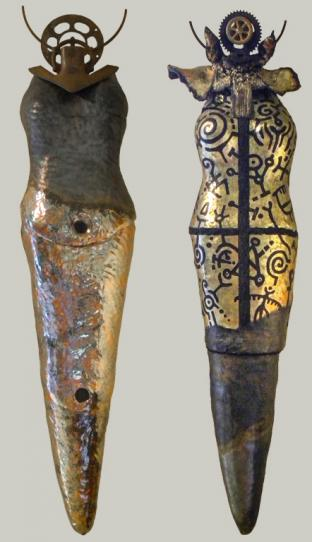 (1) Harvest Goddess, ceramic, metal, 154 x 33 x 15 cm - 2017    (2) Time Travel Goddess, ceramic, metal, 156 x 40 x 15 cm - 2017