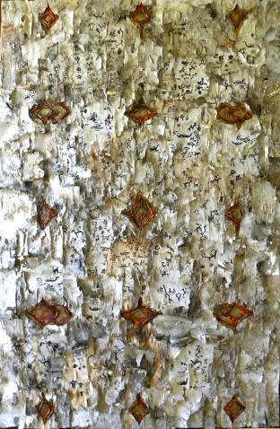 HISTOIRES DE BOULEAUX, écorces de bouleaux, fibre de verre, carbone liquide et techniques mixtes sur toile, 152 x 91 cm - 2014