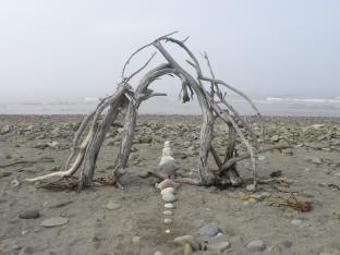 GATE OF THE MYST, driftwood, rocks, Miscou Island, N.B. - 2013