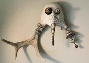 Buckman, ceramic, metal, fallen moose horn, 50 x 67 x 18 cm - 2017