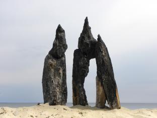 Nature Art, charred wood, Grande-Anse, NB, Canada - 2015