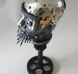 Porcupine Man, ceramic, metal, metal leaf - 2019