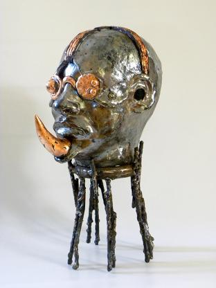 Rhino Man, ceramic, metal, copper, 39 x 20 x 25 cm - 2020