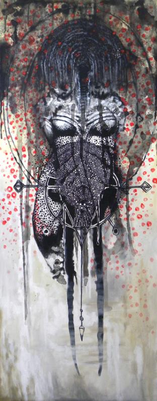 GODDESS IN ROSE PETAL SHOWER, mixed media on canvas, 162 x 64 cm - 2019