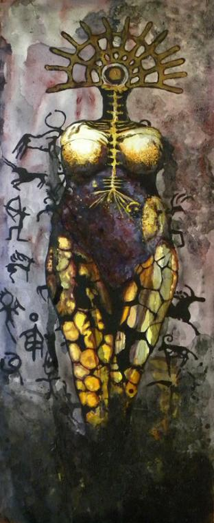 GODDESS of LANDSCAPE STORIES, mixed media on canvas, 152 x 64 cm - 2019