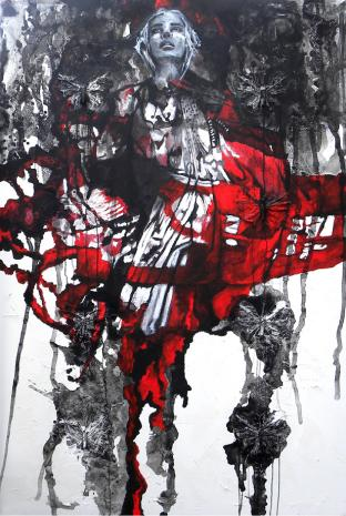 Red Butterfly, mixed media on canvas, 60 x 40 in - 2019
