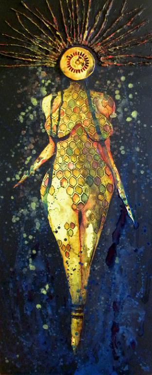 Bee Goddess in a Pollen Bath, mixed media on canvas, 152 x 64 cm - 2019