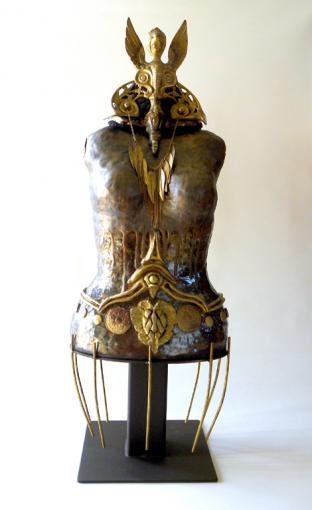 Golden Griffon Goddess, ceramic, brass, metal and found objects, 87 x 31 x 26 cm - 2018