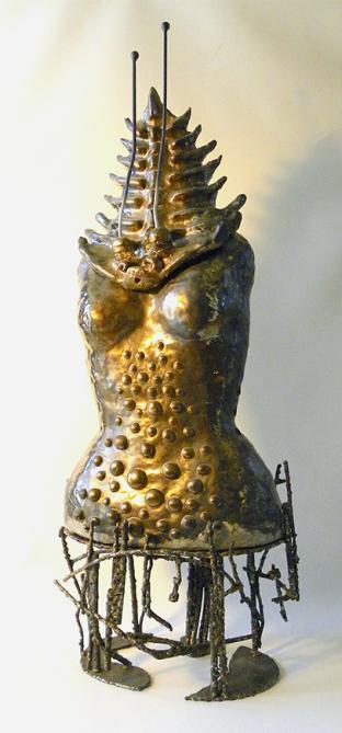 Golden Trilobite Goddess, ceramic and metal, 94 x 37 x 23 cm - 2020