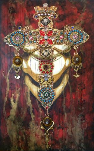 BEJEWELED GODDESS - mixed media on canvas incorporation vintage jewelry, lamp parts, furniture mouldings, ceramic elements, glass cabochons, door knobs, 60 x 36 in. - 2021
