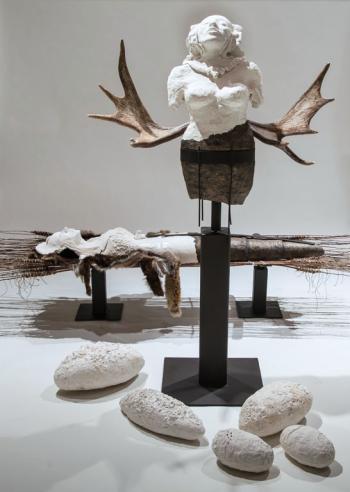 SACRED VESSELS, ceramic, metal, scraps of fur, llama wool, moose antlers, wood, fibre, 162 x 244 x 168 cm - 2014