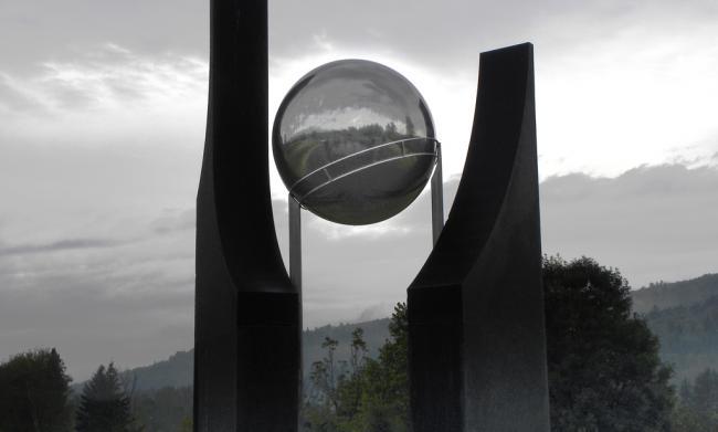 KHRONOS (detail) - The cosmic egg and the celestial door at nightfall, New Brunswick Botanical Garden, Canada