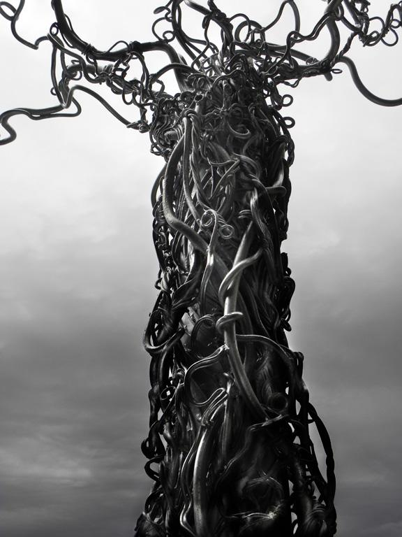 "Photography, detail of a public artwork titled ""Racines de vie"" of the artist Guylaine Cyr.  This sculpture can be seen at the sanctuary of Notre-Dame-De-Lourdes, NB, Canada - 2014"